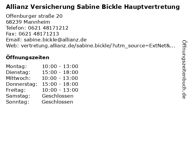 Allianz Vertretung Sabine Bickle in Mannheim: Adresse und Öffnungszeiten