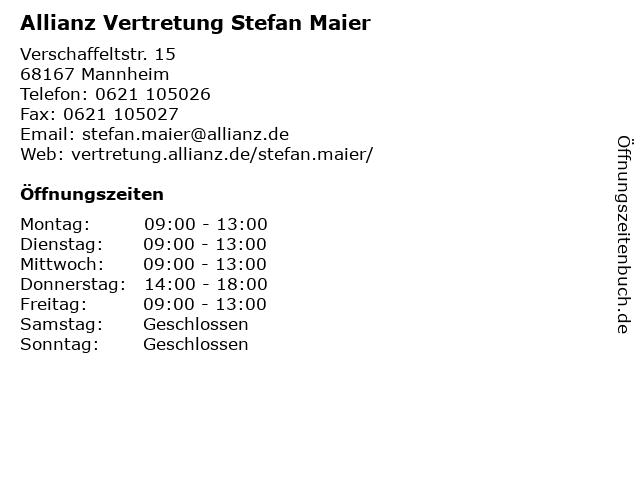 Allianz Vertretung Stefan Maier in Mannheim: Adresse und Öffnungszeiten