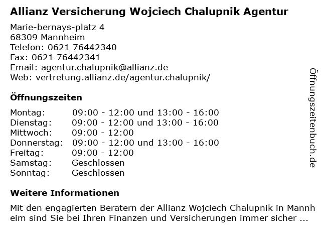 Allianz Vertretung Wojciech Chalupnik in Mannheim: Adresse und Öffnungszeiten