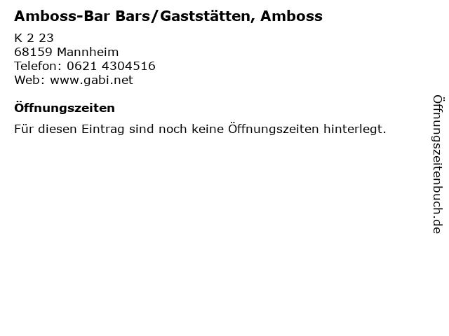 Amboss-Bar Bars/Gaststätten, Amboss in Mannheim: Adresse und Öffnungszeiten