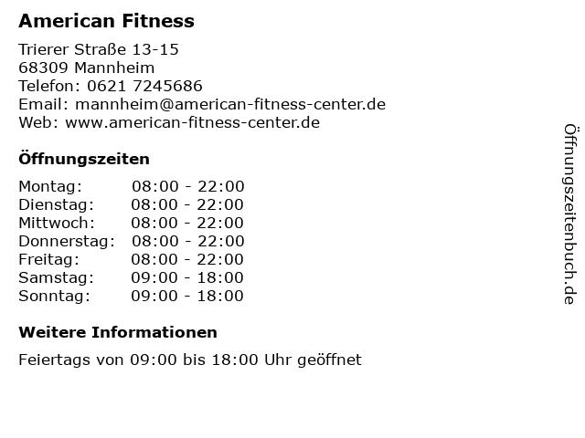 American Fitness in Mannheim: Adresse und Öffnungszeiten
