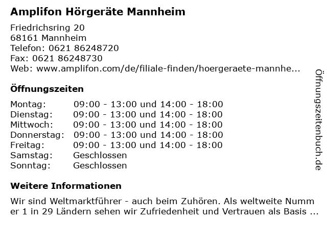 Amplifon Hörgeräte in Mannheim: Adresse und Öffnungszeiten