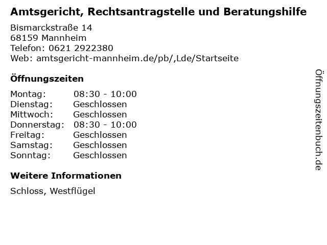 Amtsgericht, Rechtsantragstelle und Beratungshilfe in Mannheim: Adresse und Öffnungszeiten