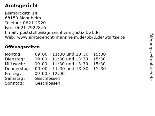 Amtsgericht in Mannheim: Adresse und Öffnungszeiten