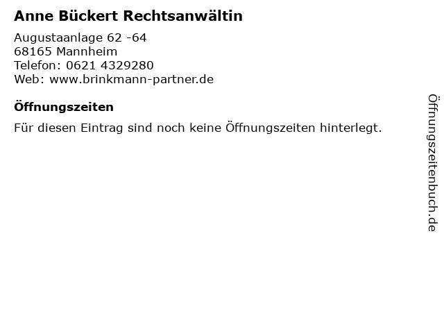 Anne Bückert Rechtsanwältin in Mannheim: Adresse und Öffnungszeiten