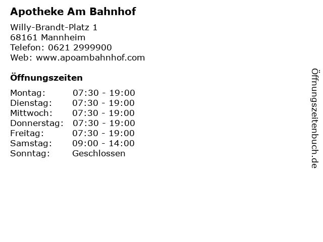 Apotheke Am Bahnhof in Mannheim: Adresse und Öffnungszeiten