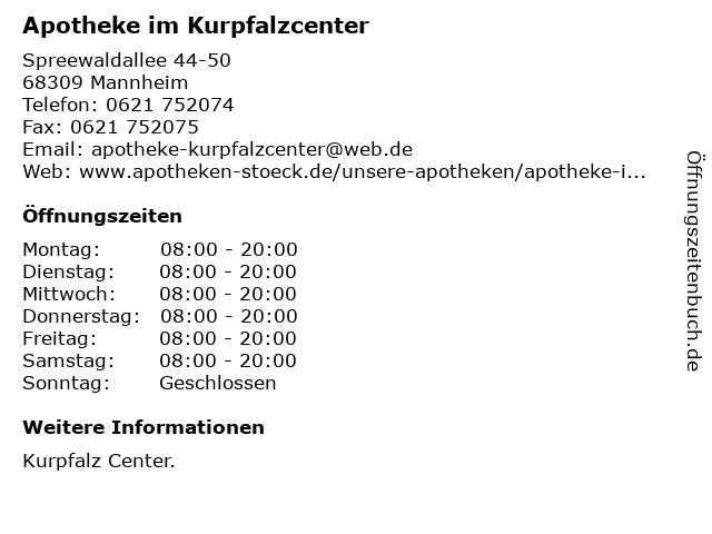 Apotheke im Kurpfalzcenter in Mannheim: Adresse und Öffnungszeiten