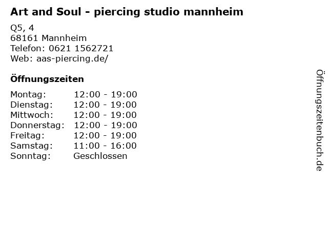 Art and Soul - piercing studio mannheim in Mannheim: Adresse und Öffnungszeiten