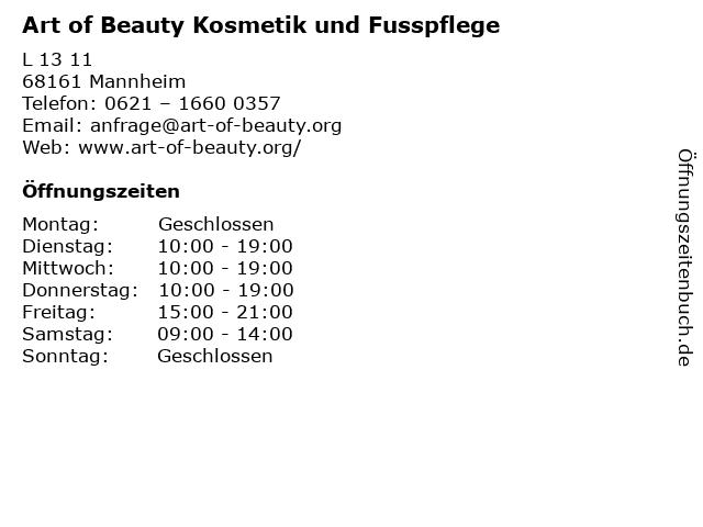 Art of Beauty Kosmetik und Fusspflege in Mannheim: Adresse und Öffnungszeiten