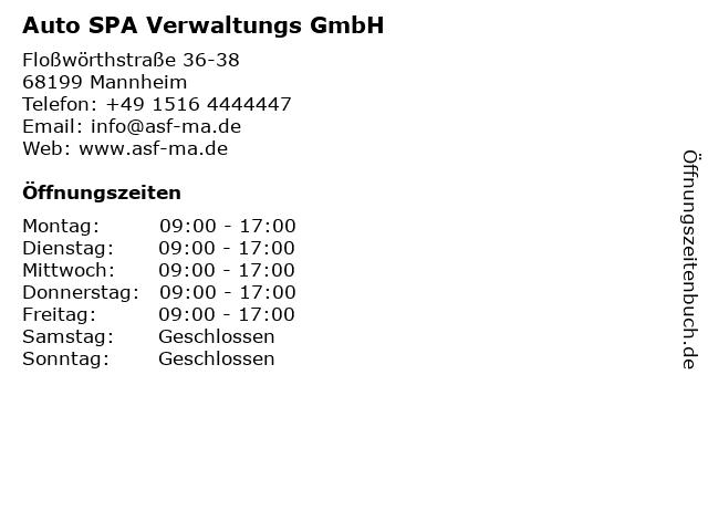 Auto SPA Verwaltungs GmbH in Mannheim: Adresse und Öffnungszeiten