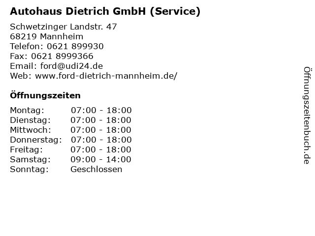Autohaus Dietrich GmbH (Service) in Mannheim: Adresse und Öffnungszeiten