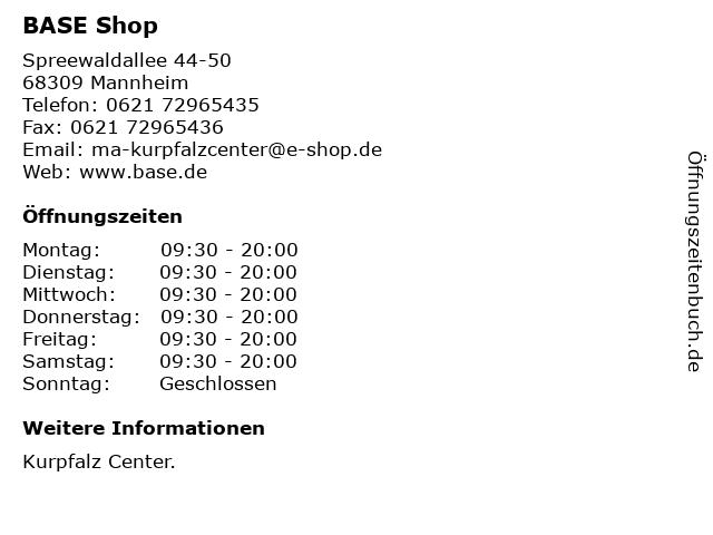 BASE Shop in Mannheim: Adresse und Öffnungszeiten