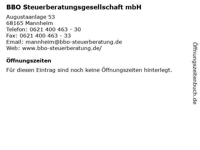 BBO Steuerberatungsgesellschaft mbH in Mannheim: Adresse und Öffnungszeiten