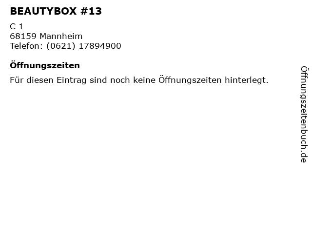 BEAUTYBOX #13 in Mannheim: Adresse und Öffnungszeiten