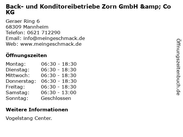 Back- und Konditoreibetriebe Zorn GmbH & Co KG in Mannheim: Adresse und Öffnungszeiten