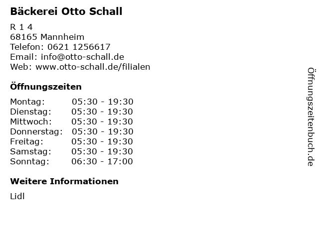 Bäckerei Otto Schall in Mannheim: Adresse und Öffnungszeiten