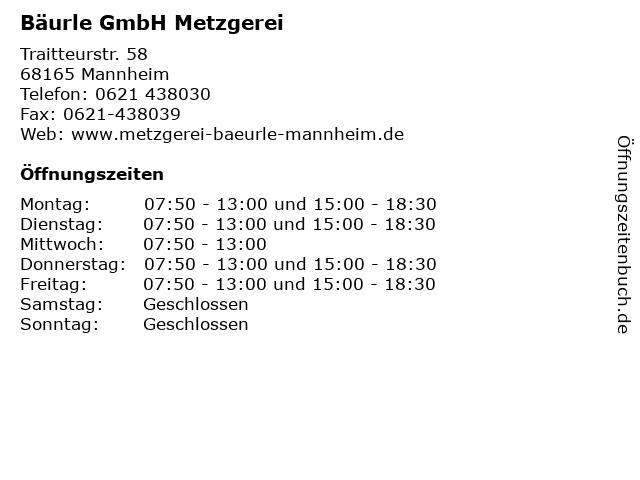 Bäurle GmbH Metzgerei in Mannheim: Adresse und Öffnungszeiten