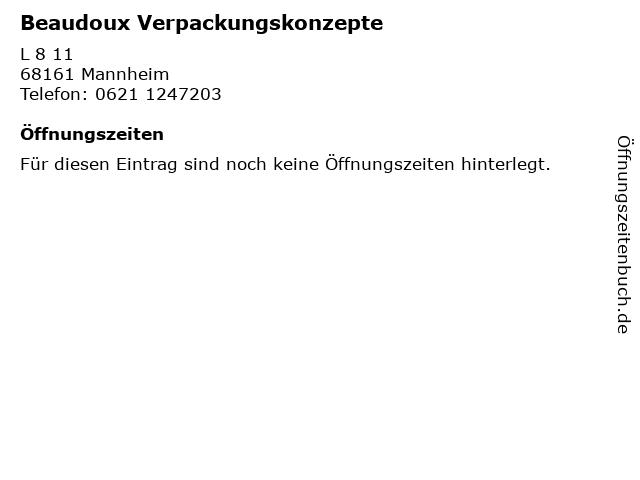 Beaudoux Verpackungskonzepte in Mannheim: Adresse und Öffnungszeiten