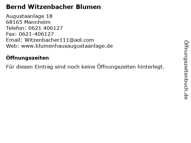 Bernd Witzenbacher Blumen in Mannheim: Adresse und Öffnungszeiten