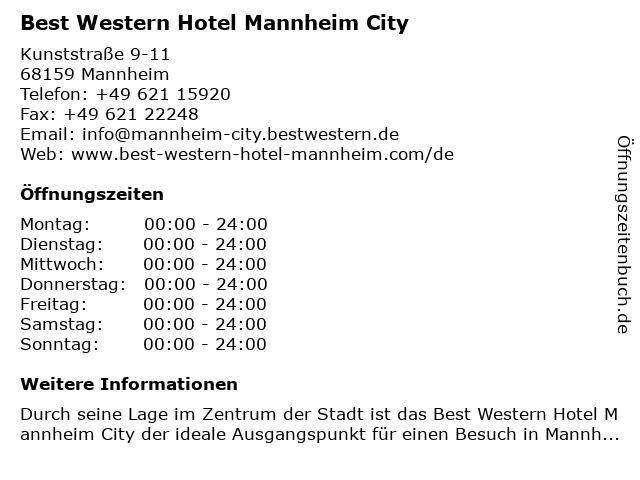 Best Western Hotel Mannheim City in Mannheim: Adresse und Öffnungszeiten
