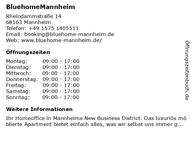 BluehomeMannheim in Mannheim: Adresse und Öffnungszeiten