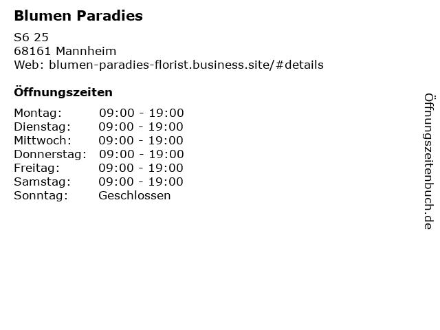 Blumen Paradies in Mannheim: Adresse und Öffnungszeiten