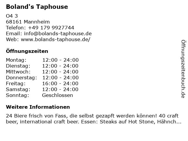 Boland's Taphouse in Mannheim: Adresse und Öffnungszeiten