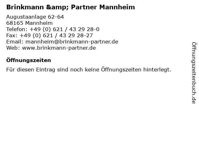 Brinkmann & Partner Mannheim in Mannheim: Adresse und Öffnungszeiten