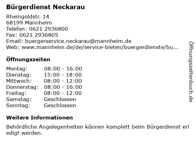 Bürgerdienst Neckarau in Mannheim: Adresse und Öffnungszeiten
