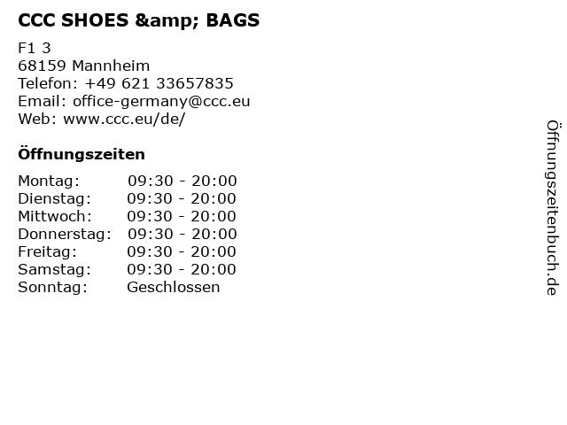 CCC SHOES & BAGS in Mannheim: Adresse und Öffnungszeiten