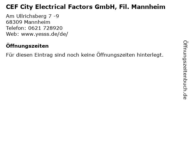 CEF City Electrical Factors GmbH, Fil. Mannheim in Mannheim: Adresse und Öffnungszeiten