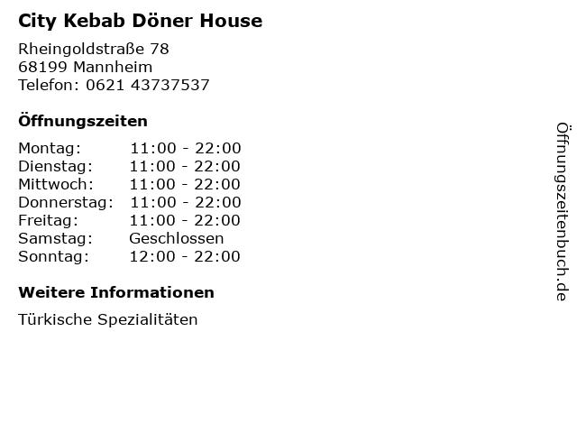 City Kebab Döner House in Mannheim: Adresse und Öffnungszeiten