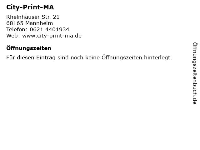 City-Print-MA in Mannheim: Adresse und Öffnungszeiten