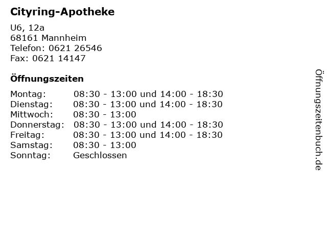 Cityring-Apotheke in Mannheim: Adresse und Öffnungszeiten