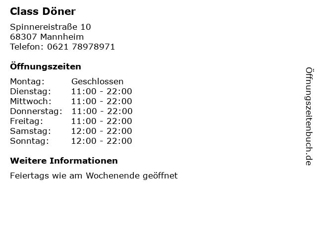 Class Döner in Mannheim: Adresse und Öffnungszeiten