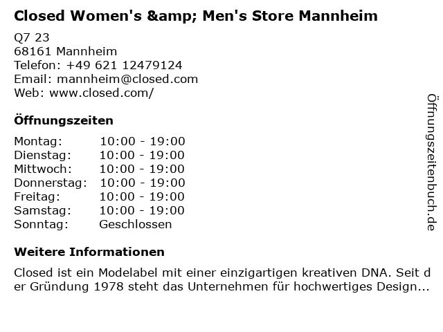 Closed Shop Women & Men in Mannheim: Adresse und Öffnungszeiten