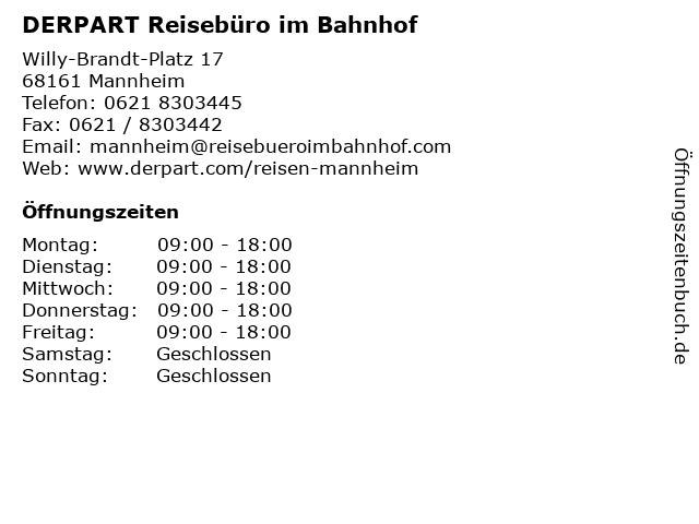 DERPART Reisebüro im Bahnhof in Mannheim: Adresse und Öffnungszeiten