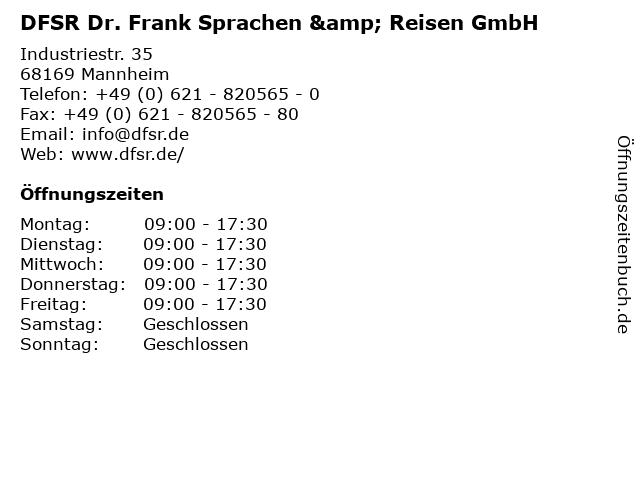 DFSR Dr. Frank Sprachen & Reisen GmbH in Mannheim: Adresse und Öffnungszeiten