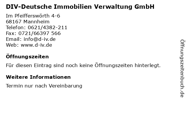 DIV-Deutsche Immobilien Verwaltung GmbH in Mannheim: Adresse und Öffnungszeiten