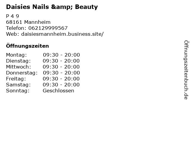 Daisies Nails & Beauty in Mannheim: Adresse und Öffnungszeiten
