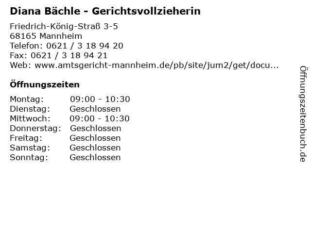 Diana Bächle - Gerichtsvollzieherin in Mannheim: Adresse und Öffnungszeiten