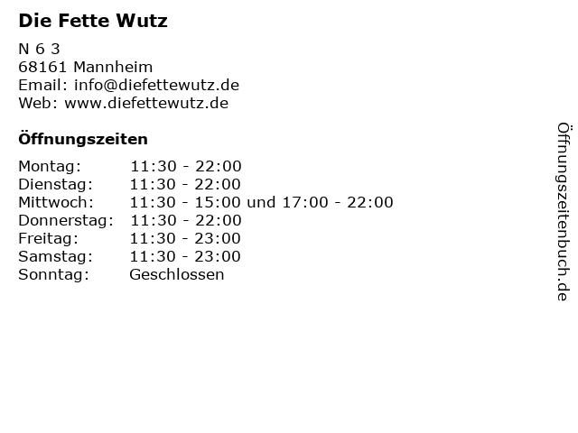 Die Fette Wutz in Mannheim: Adresse und Öffnungszeiten
