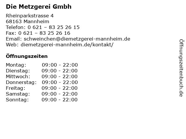 Die Metzgerei Gmbh in Mannheim: Adresse und Öffnungszeiten