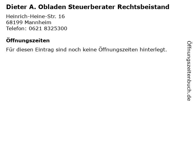 Dieter A. Obladen Steuerberater Rechtsbeistand in Mannheim: Adresse und Öffnungszeiten
