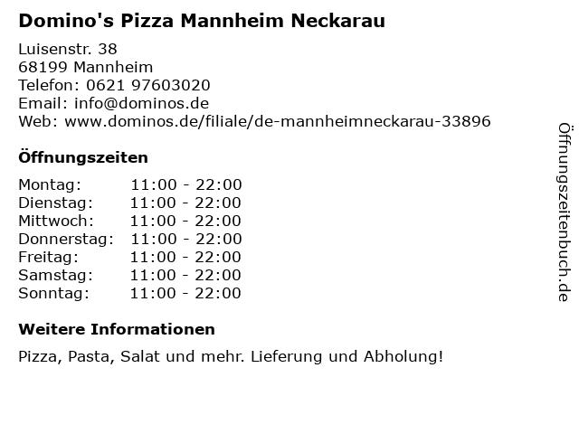 Domino's Pizza Mannheim Neckarau in Mannheim: Adresse und Öffnungszeiten