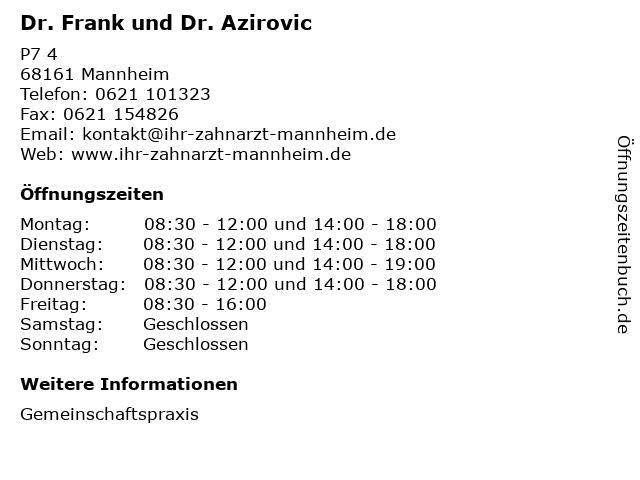 Dr. Frank und Dr. Azirovic in Mannheim: Adresse und Öffnungszeiten