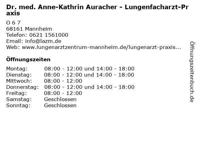 Dr. med. Anne-Kathrin Auracher in Mannheim: Adresse und Öffnungszeiten