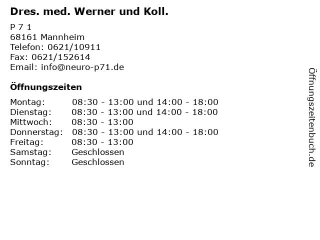 Dres. med. Werner und Koll. in Mannheim: Adresse und Öffnungszeiten
