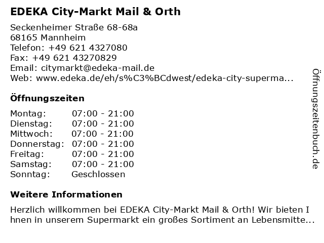 EDEKA City-Markt Mail & Orth in Mannheim: Adresse und Öffnungszeiten