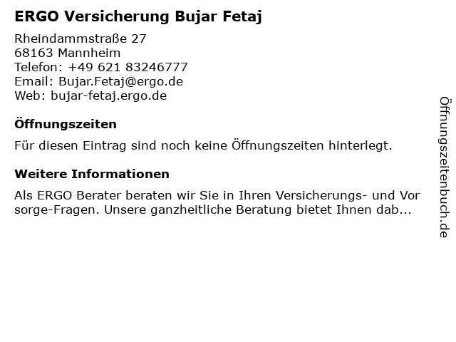 ERGO Versicherung Bujar Fetaj in Mannheim: Adresse und Öffnungszeiten